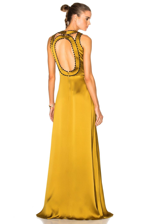 Image 1 of Roksanda Silk Seersucker Okin Dress in Chartreuse