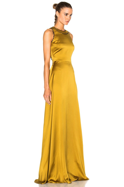 Image 4 of Roksanda Silk Seersucker Okin Dress in Chartreuse
