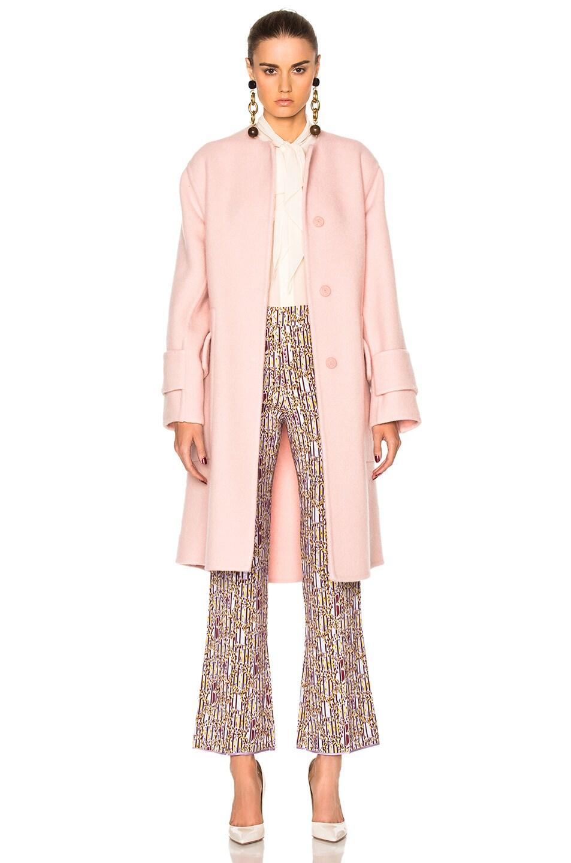 Image 2 of Roksanda Cavani Heavy Felted Wool Coat in Blush