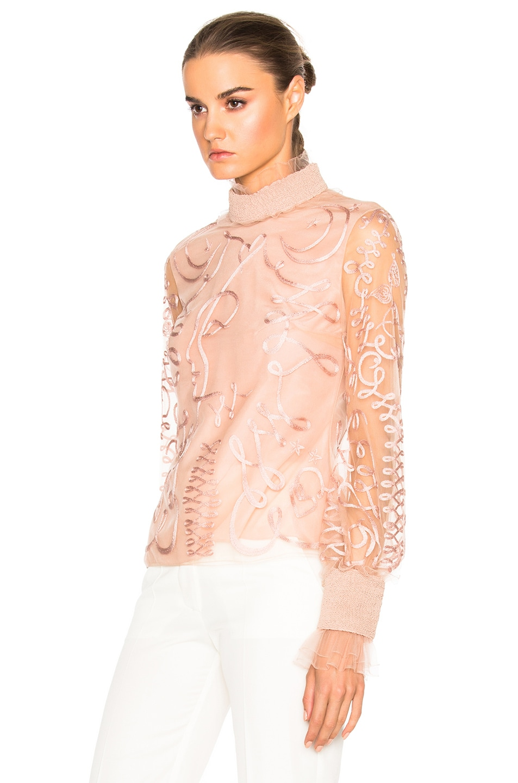 Image 2 of Roksanda Kielder Phantom Tulle Top in Blush