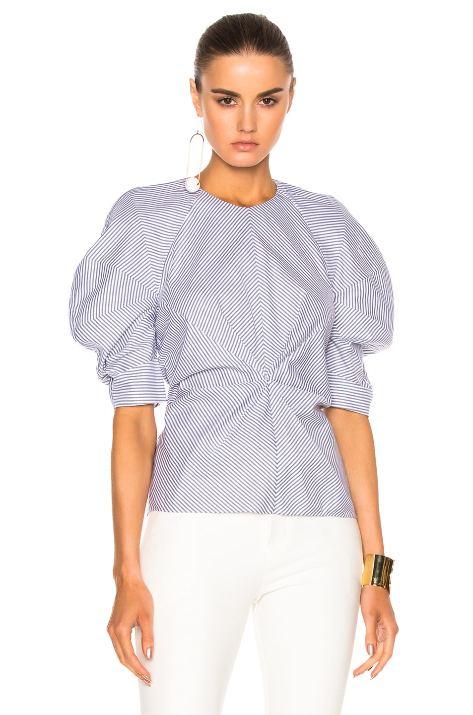 Image 1 of Roksanda Cotton Colter Top in Navy & White