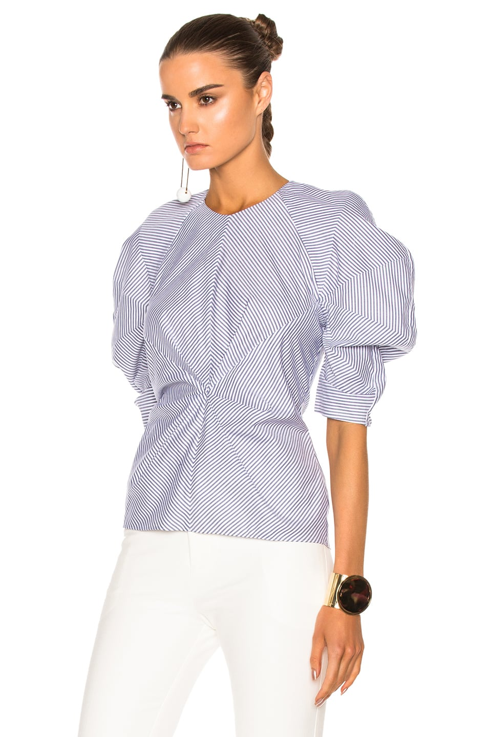 Image 2 of Roksanda Cotton Colter Top in Navy & White