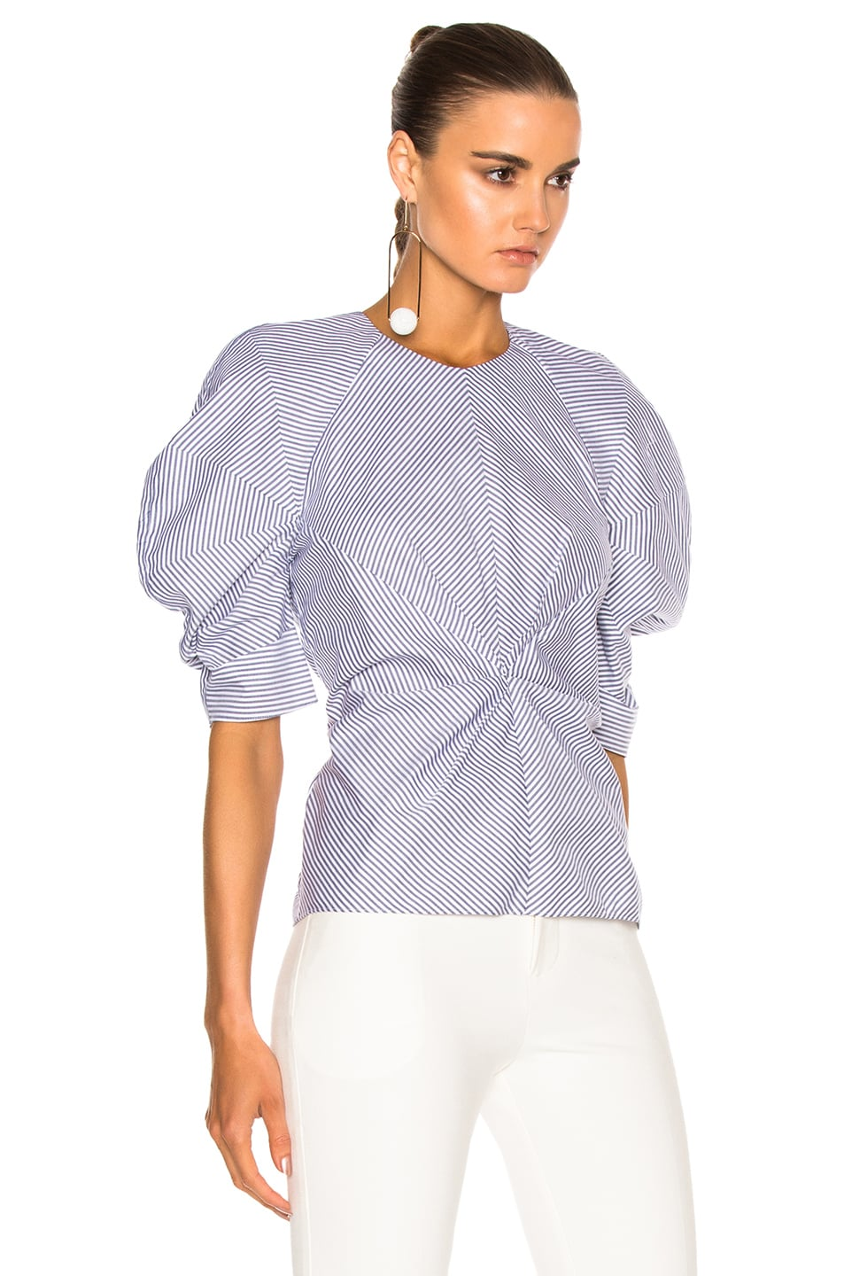 Image 3 of Roksanda Cotton Colter Top in Navy & White