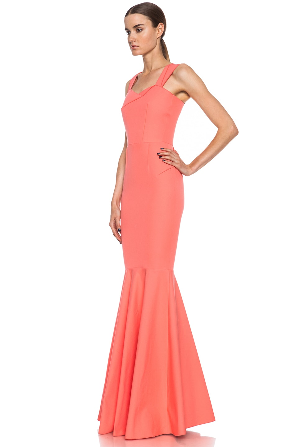 Image 2 of Roland Mouret Orpheus Cotton-Blend Gown Pink in Coral