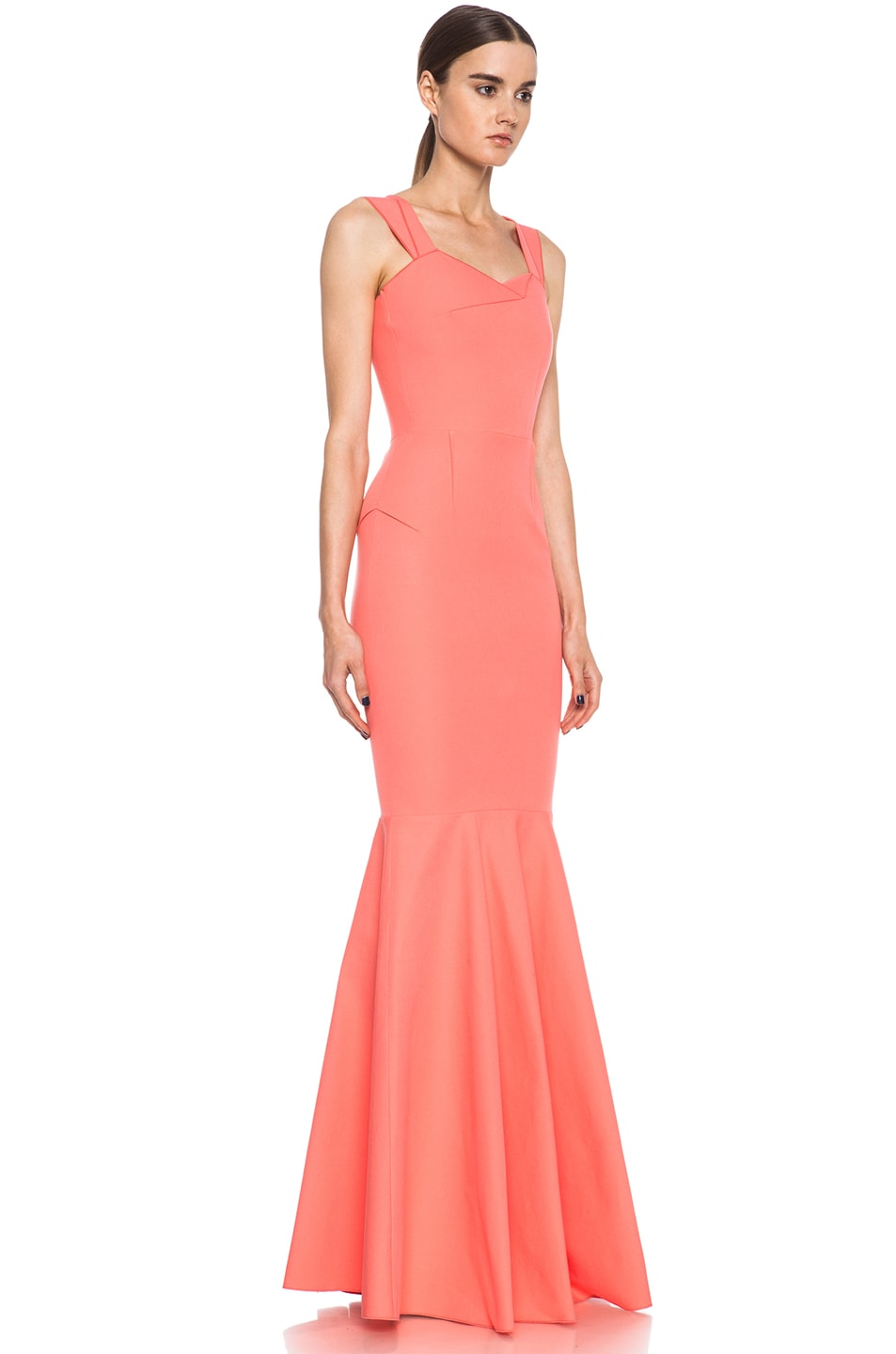 Image 3 of Roland Mouret Orpheus Cotton-Blend Gown Pink in Coral