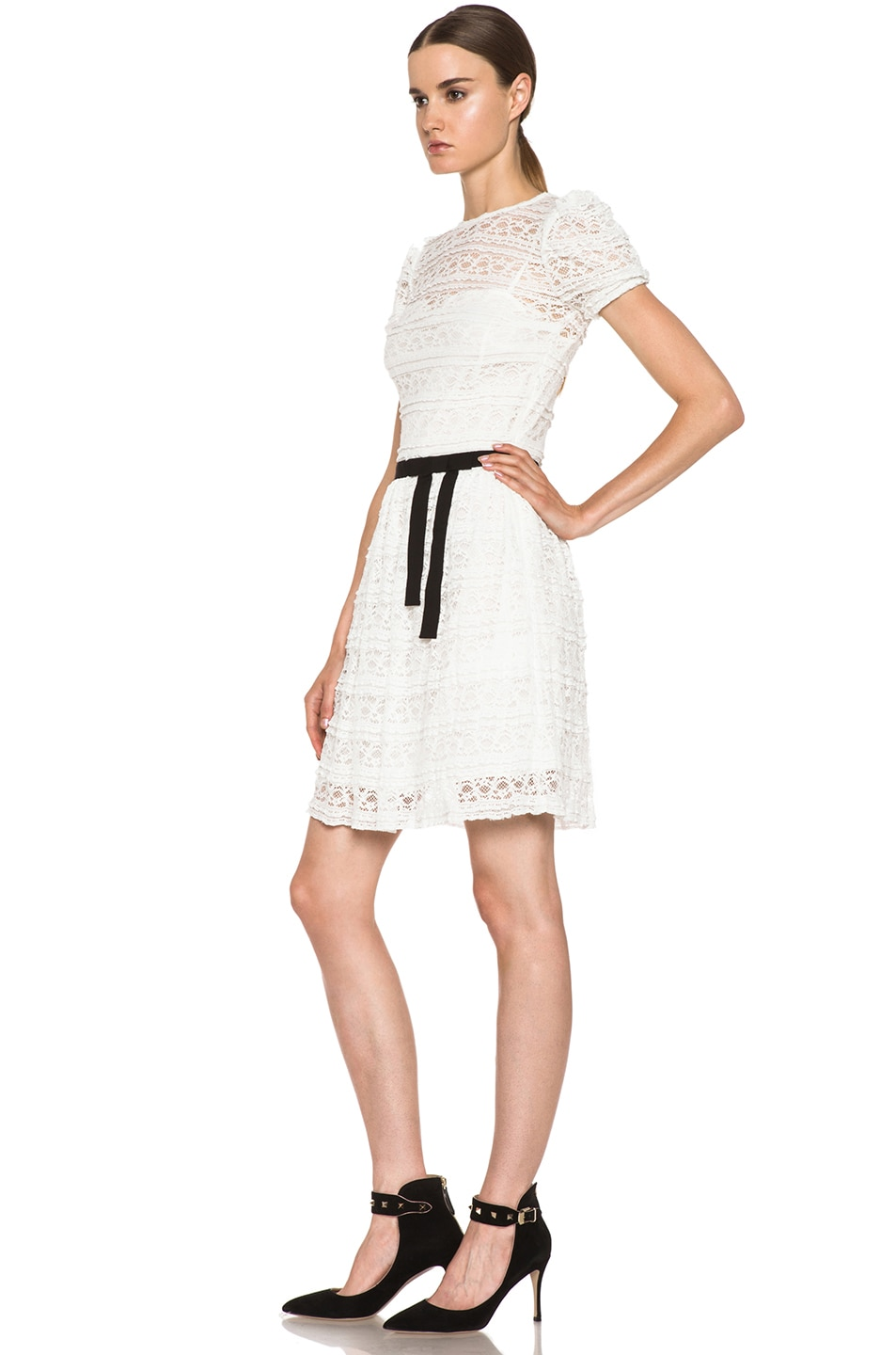 Image 2 of Red Valentino Lace Knit Dress in White & Black