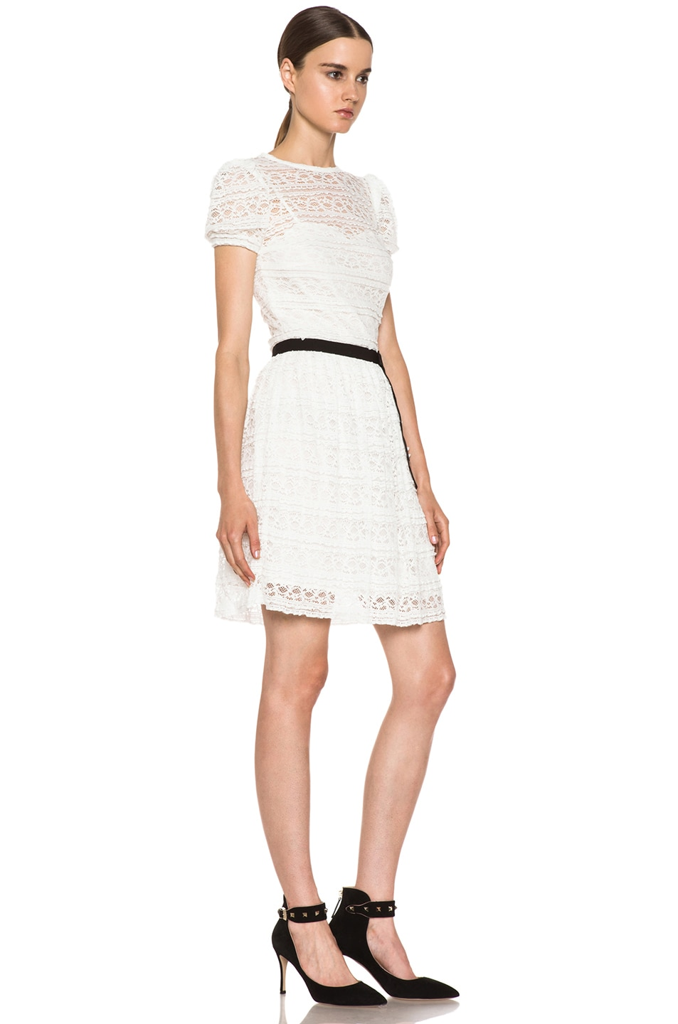 Image 3 of Red Valentino Lace Knit Dress in White & Black