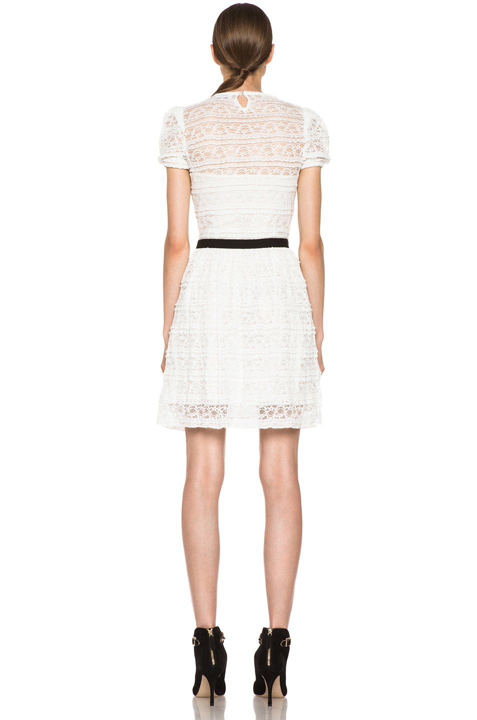 Image 4 of Red Valentino Lace Knit Dress in White & Black