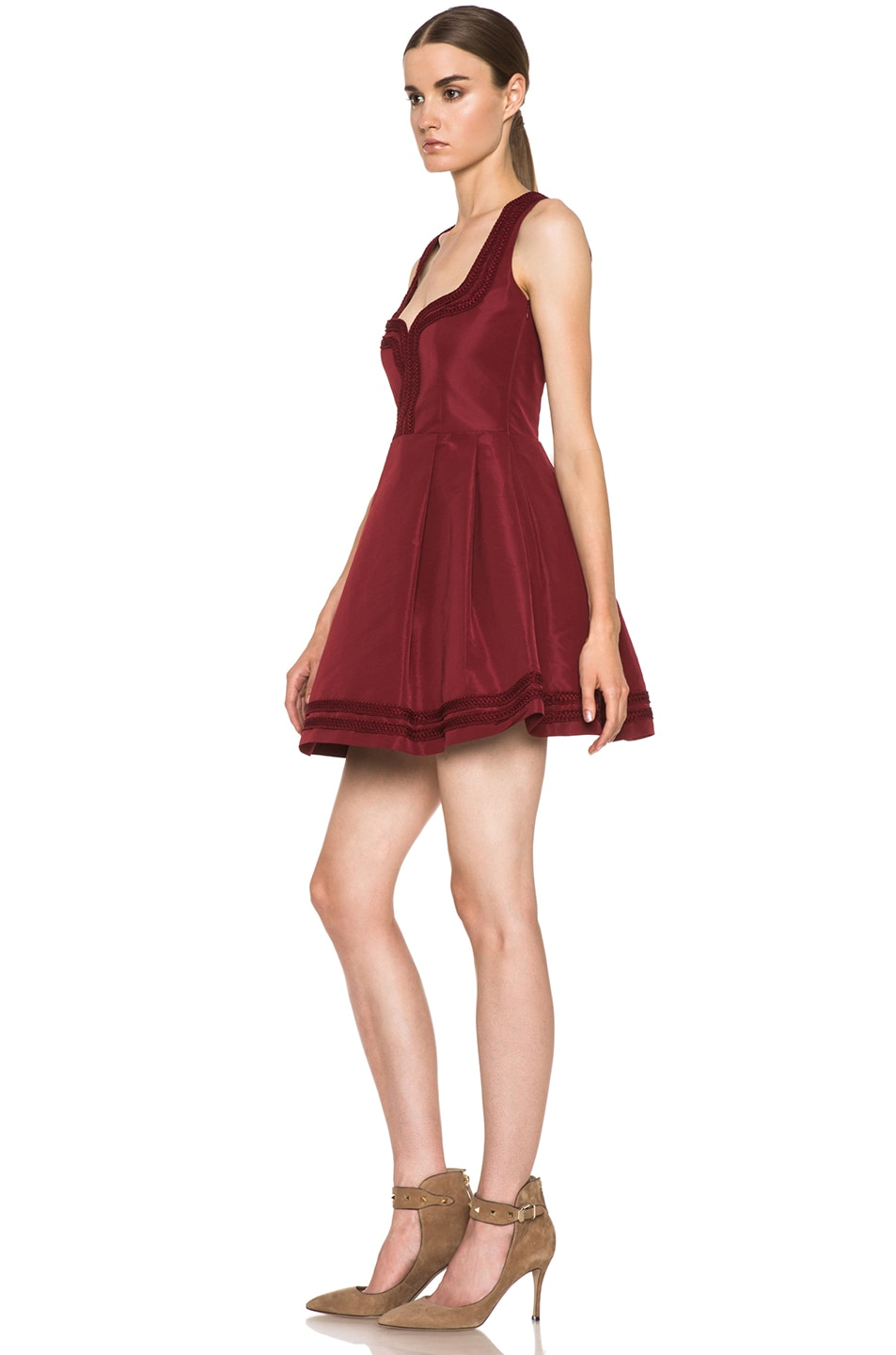 Image 2 of Red Valentino Faille Poly Sweetheart Dress in Wine
