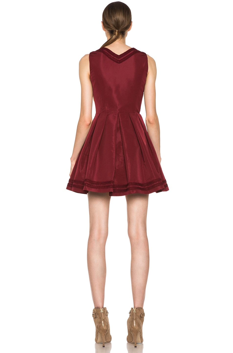 Image 4 of Red Valentino Faille Poly Sweetheart Dress in Wine
