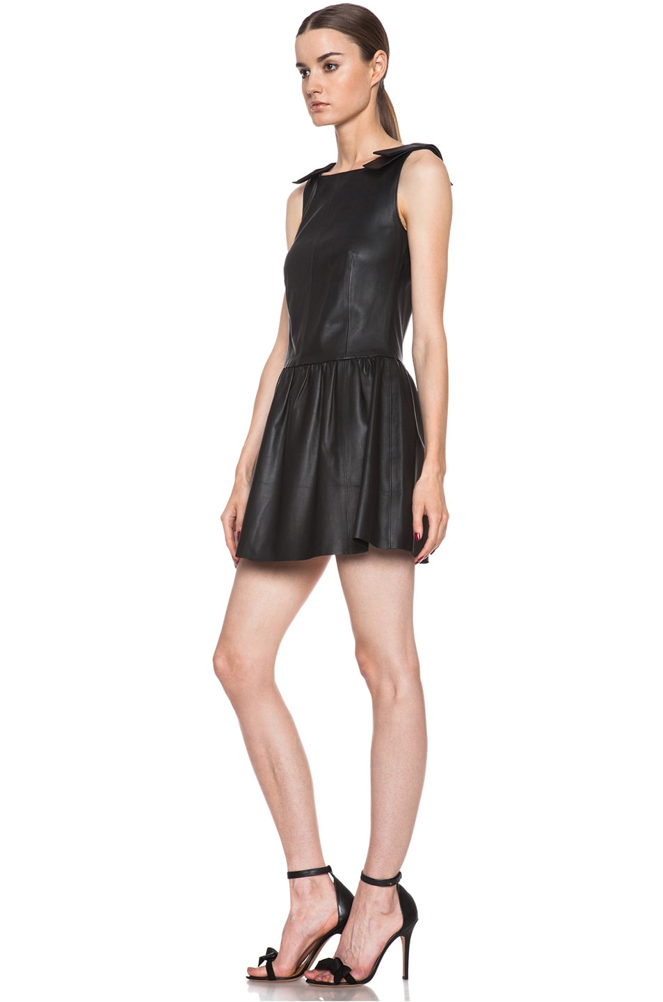 Image 2 of Red Valentino Nappa Leather Tank Dress in Black