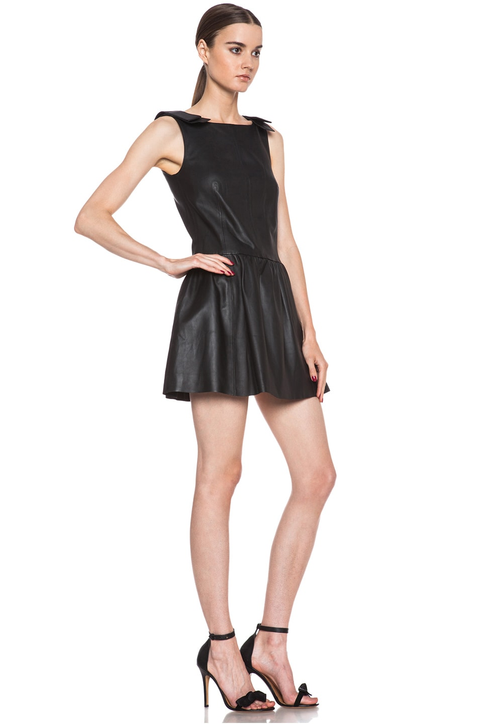 Image 3 of Red Valentino Nappa Leather Tank Dress in Black