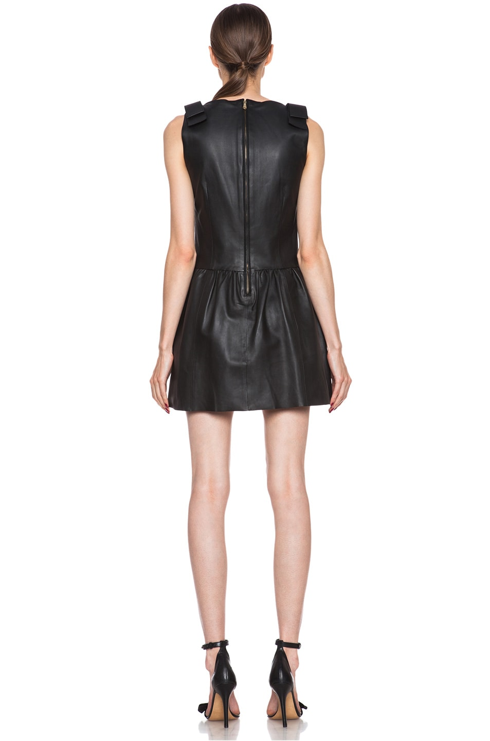 Image 4 of Red Valentino Nappa Leather Tank Dress in Black
