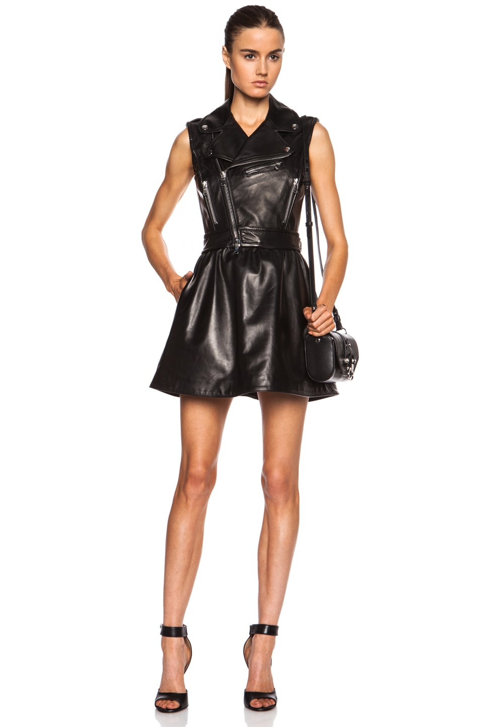 Image 1 of Red Valentino Detachable Skirt Leather Dress in Black