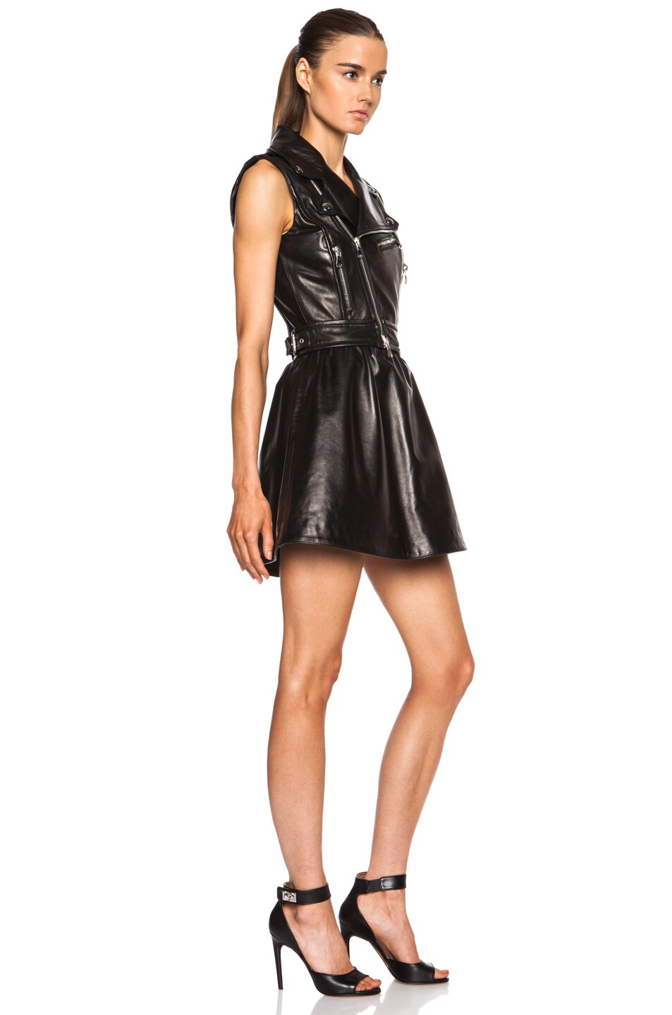 Image 3 of Red Valentino Detachable Skirt Leather Dress in Black