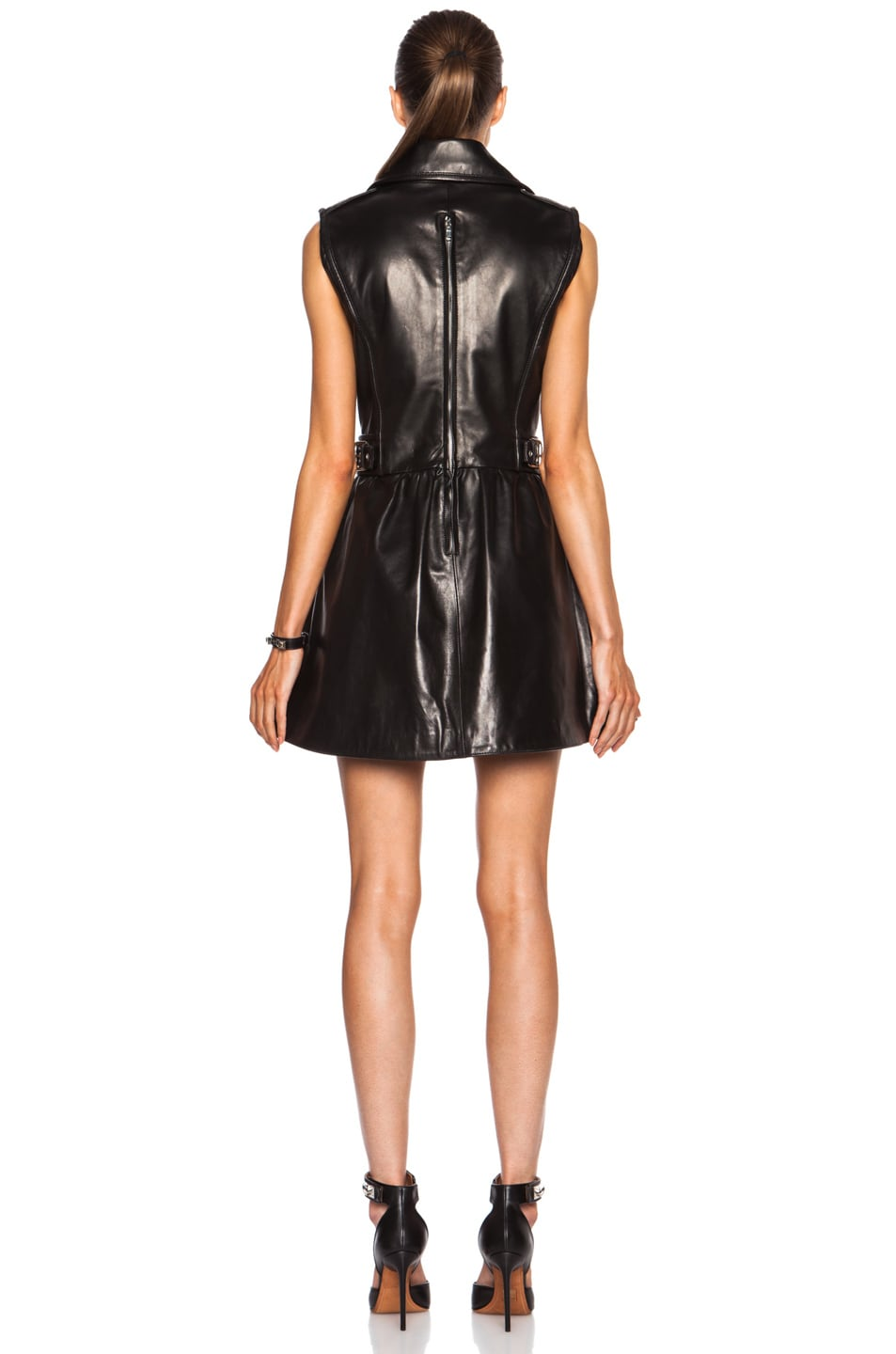 Image 4 of Red Valentino Detachable Skirt Leather Dress in Black