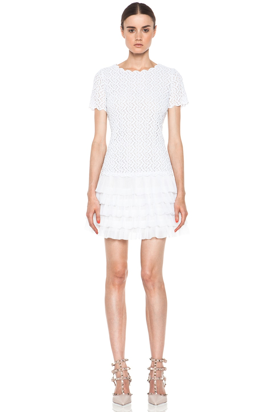 Image 1 of Red Valentino Full Daisy Organza Dress in White