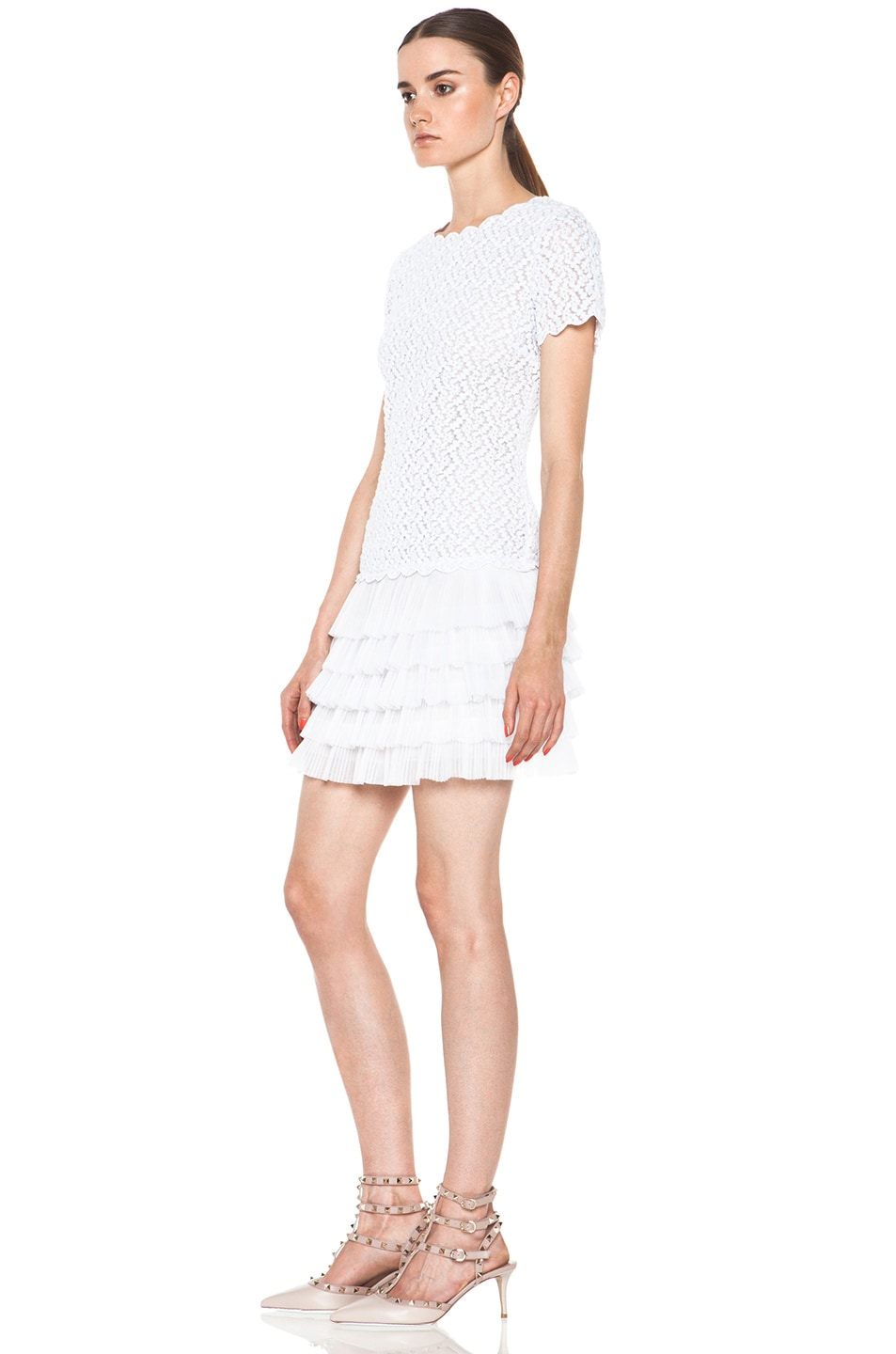 Image 2 of Red Valentino Full Daisy Organza Dress in White