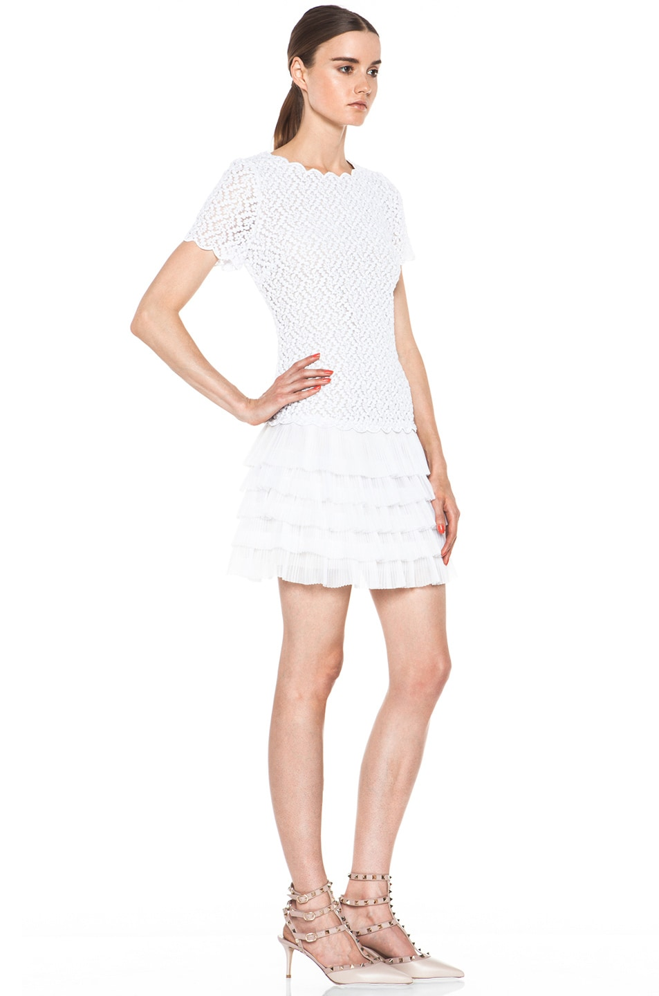 Image 3 of Red Valentino Full Daisy Organza Dress in White