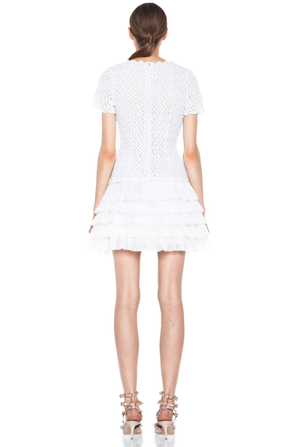 Image 4 of Red Valentino Full Daisy Organza Dress in White