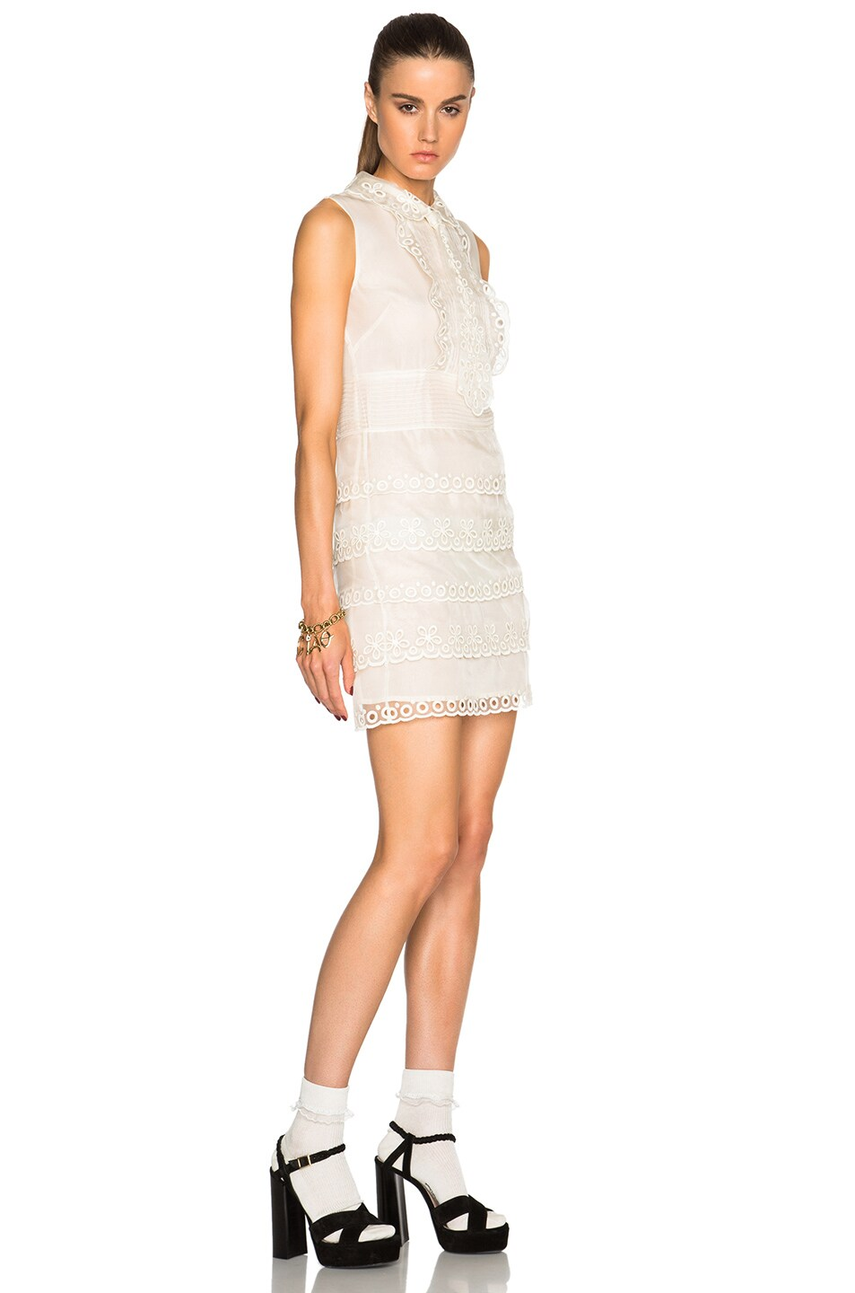 Image 3 of Red Valentino Eyelet Lace Mini Dress in Ivory