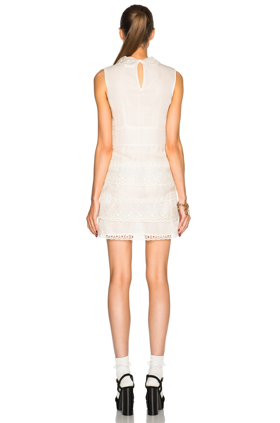 Image 4 of Red Valentino Eyelet Lace Mini Dress in Ivory