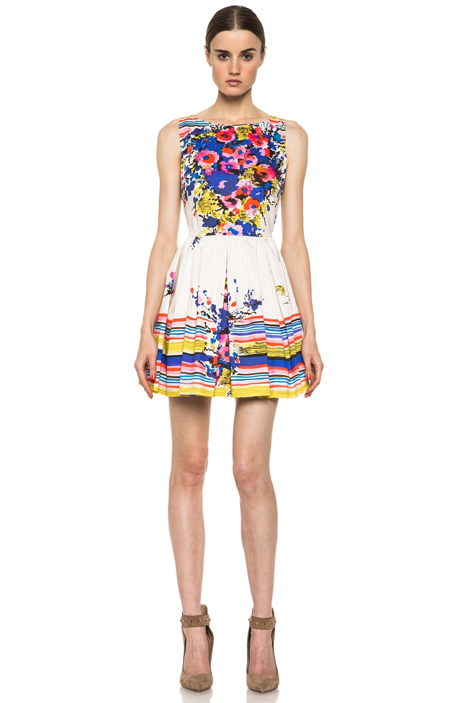 Image 1 of Red Valentino Flowers Bouquet Print Dress in Ibisco