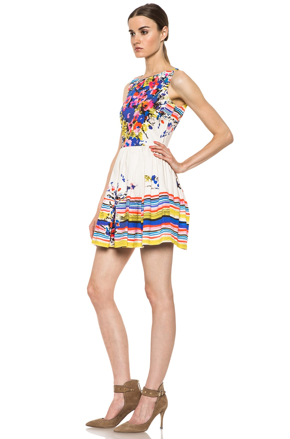 Image 2 of Red Valentino Flowers Bouquet Print Dress in Ibisco