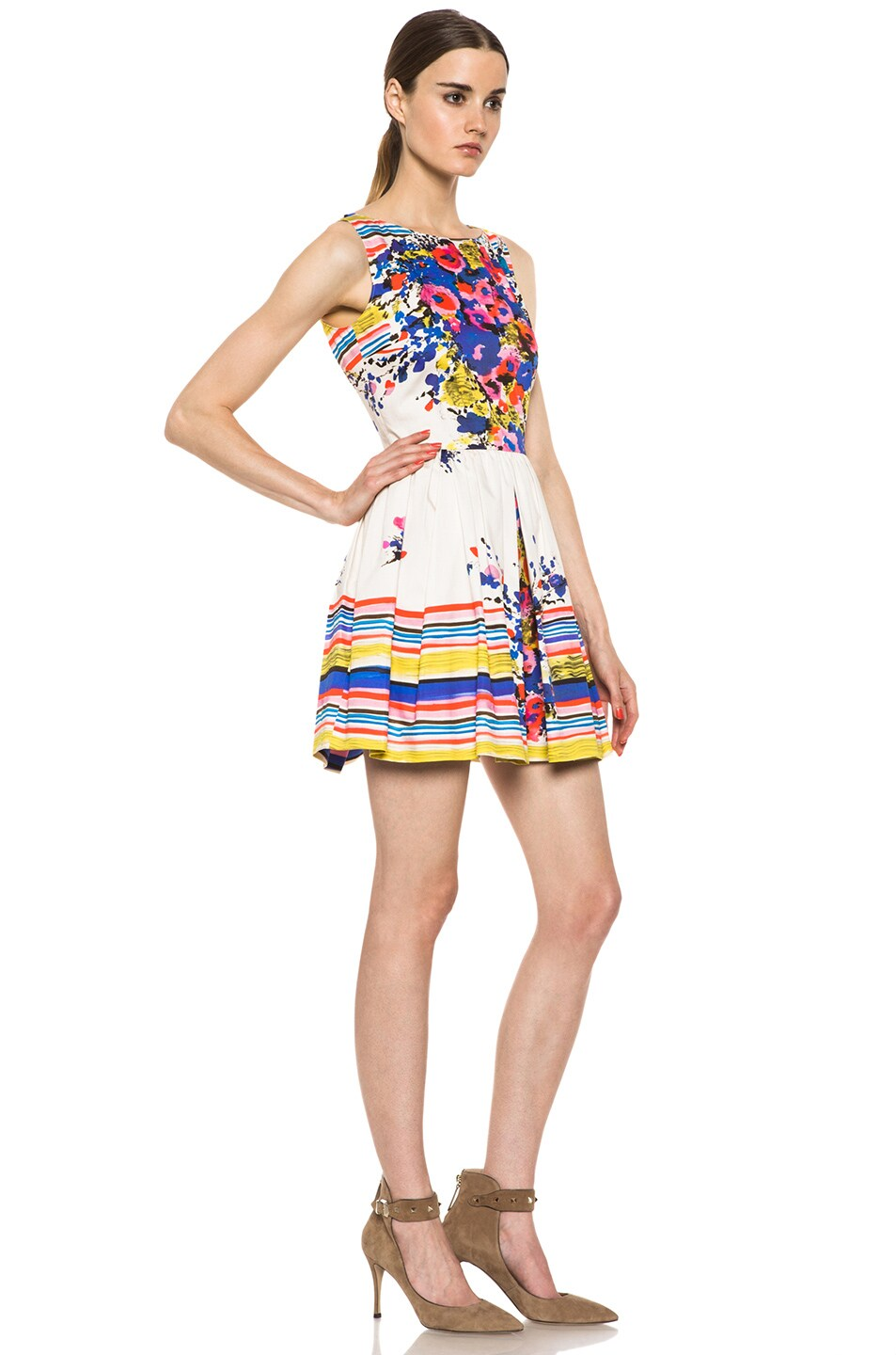 Image 3 of Red Valentino Flowers Bouquet Print Dress in Ibisco