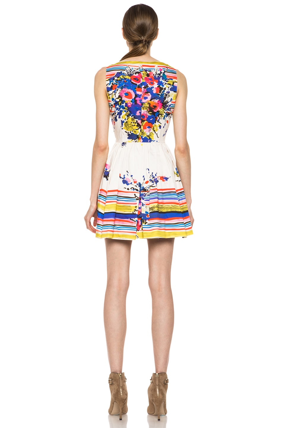Image 4 of Red Valentino Flowers Bouquet Print Dress in Ibisco