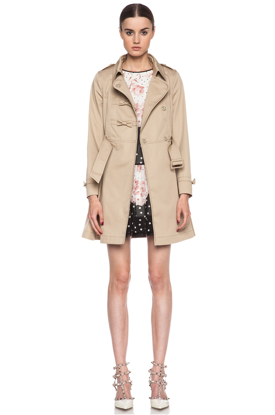 Image 2 of Red Valentino Gabardine Trench in Khaki