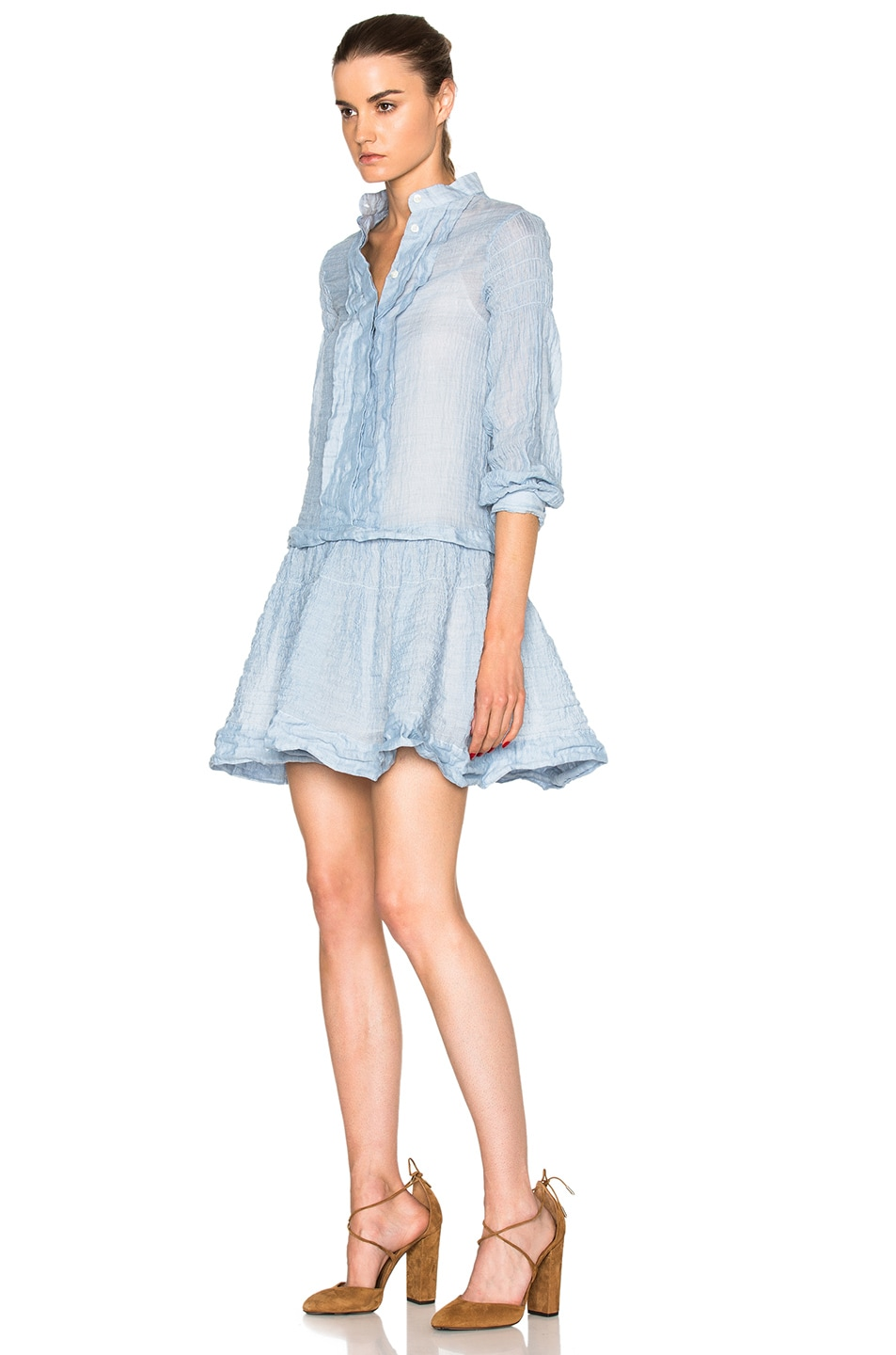 Image 2 of See By Chloe Cotton Gauze Mini Dress in Forever Blue