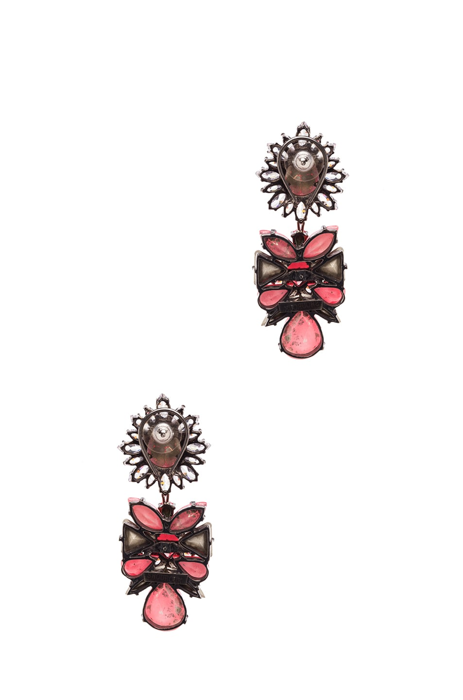 Image 3 of Shourouk Blondie Antique Plated Earrings in Coral
