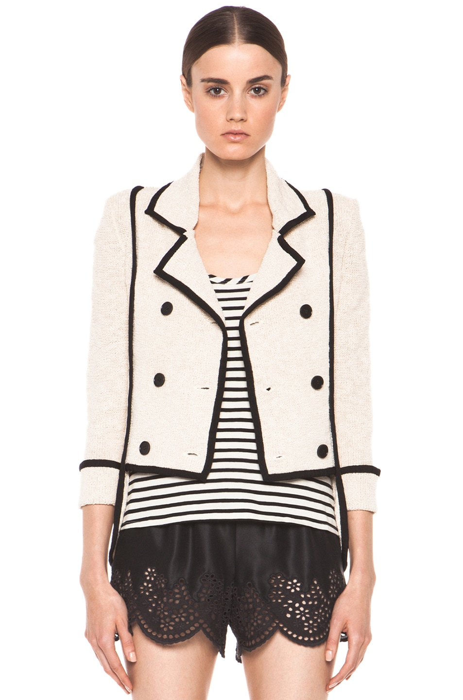 Image 1 of Skaist Taylor Boucle Jacket in Cream