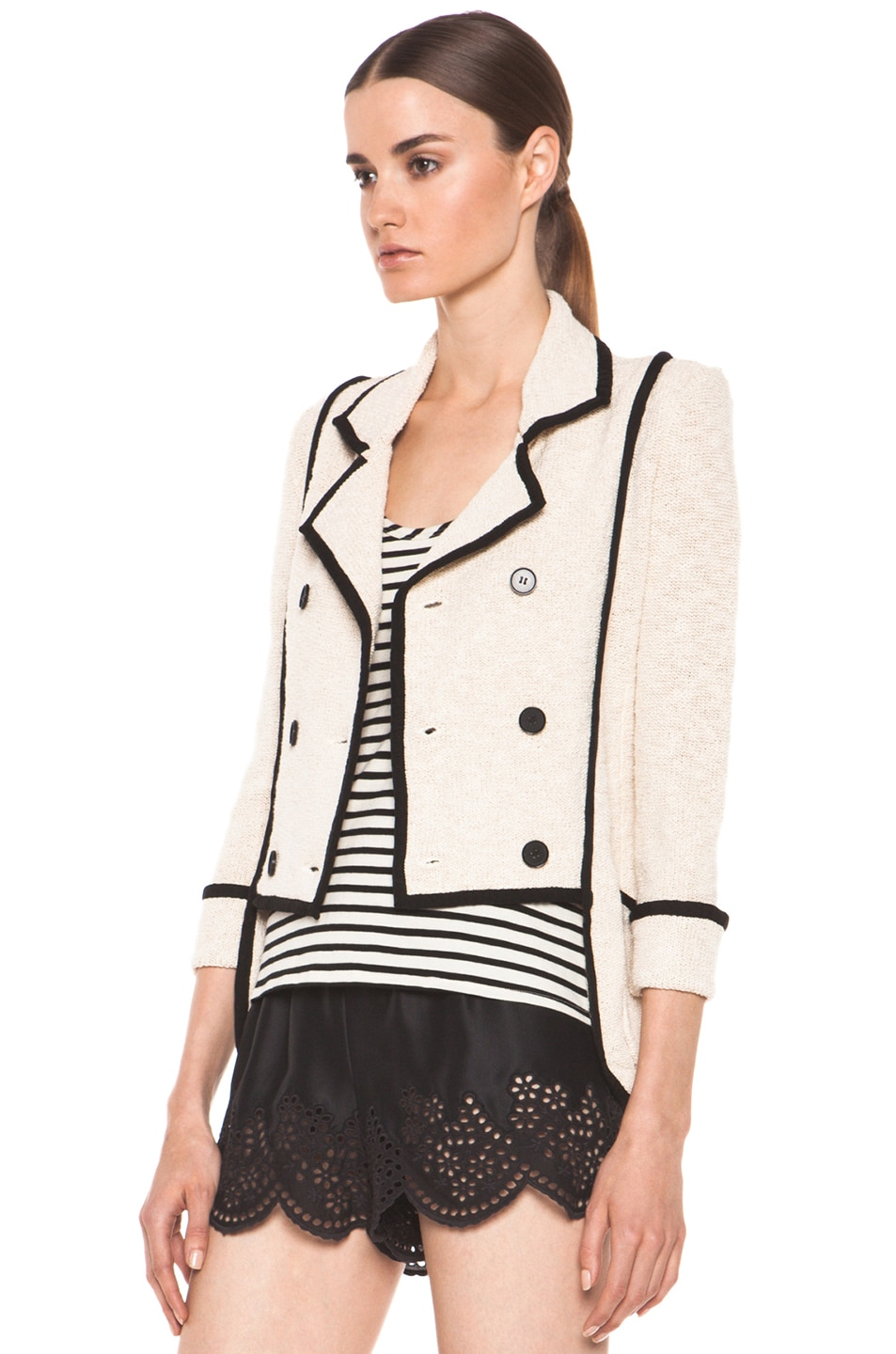 Image 3 of Skaist Taylor Boucle Jacket in Cream
