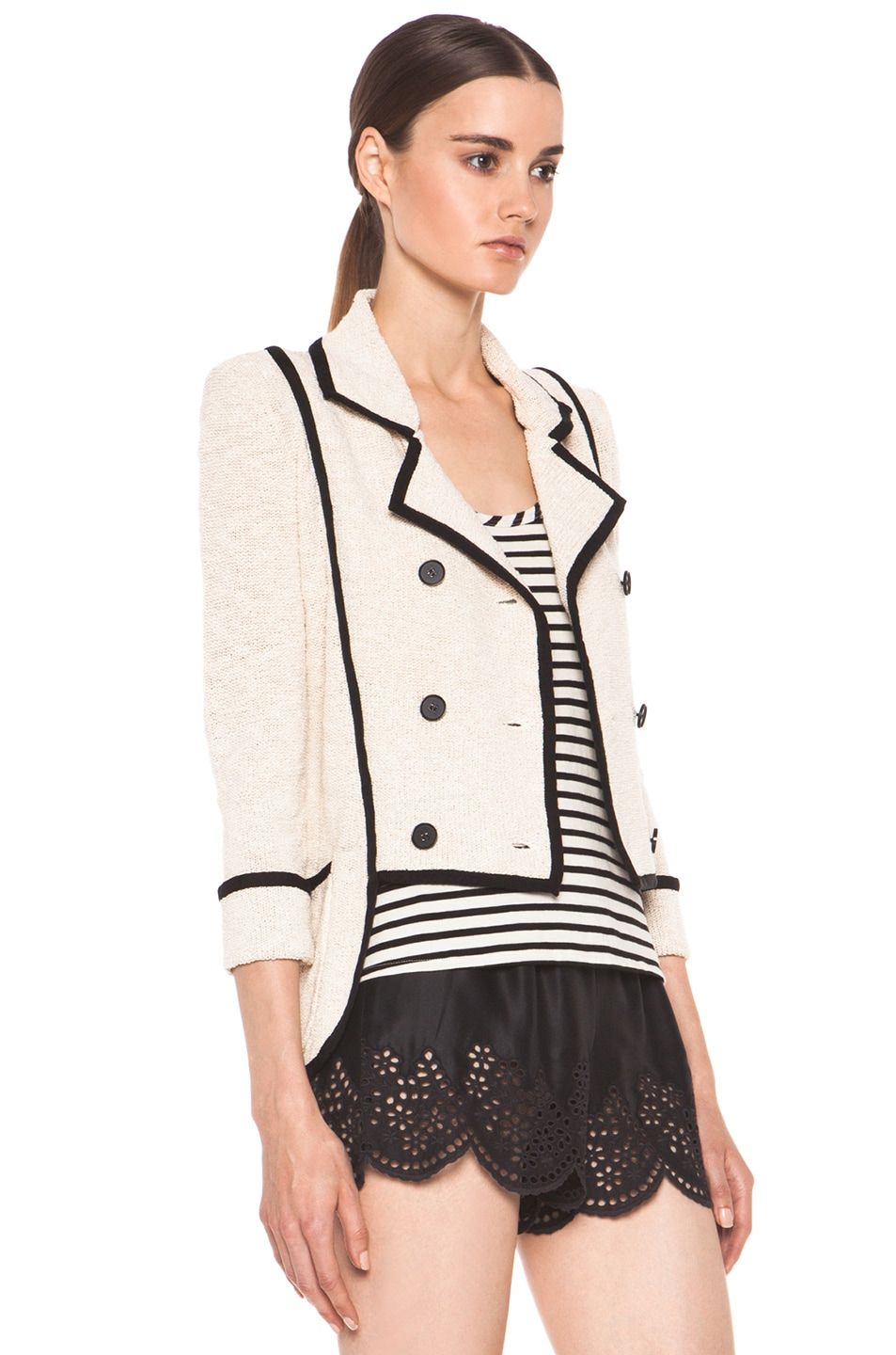 Image 4 of Skaist Taylor Boucle Jacket in Cream