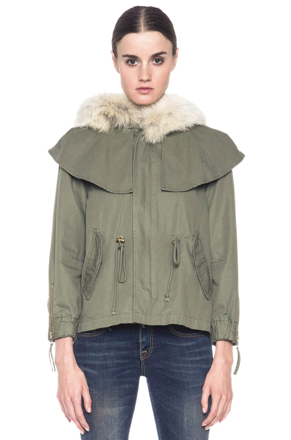 Image 2 of Skaist Taylor Cropped Cape Cotton Jacket with Fur in Army Green