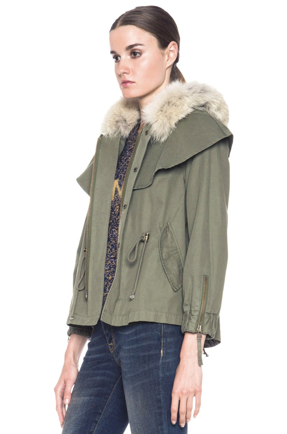Image 3 of Skaist Taylor Cropped Cape Cotton Jacket with Fur in Army Green