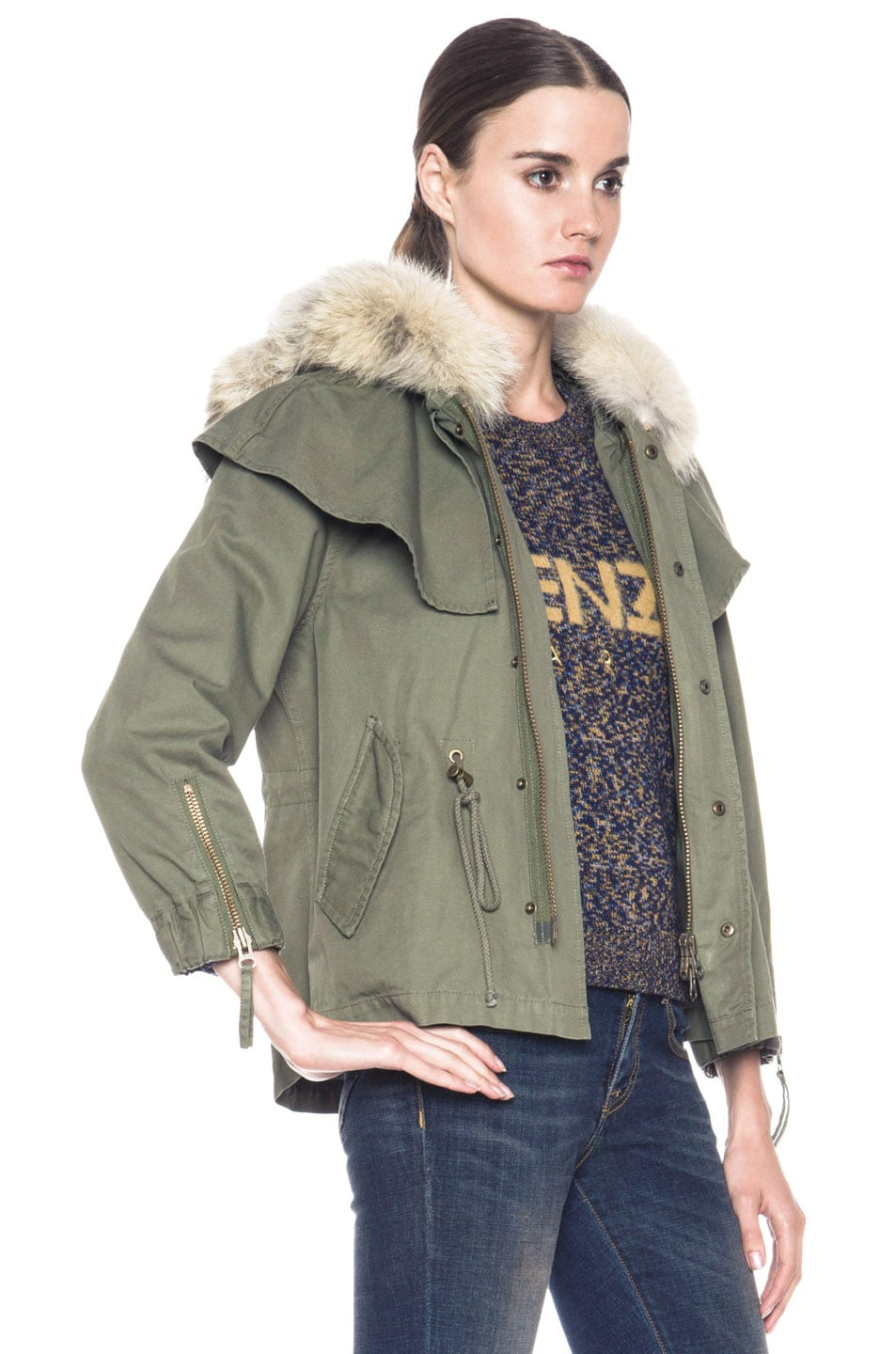 Image 4 of Skaist Taylor Cropped Cape Cotton Jacket with Fur in Army Green