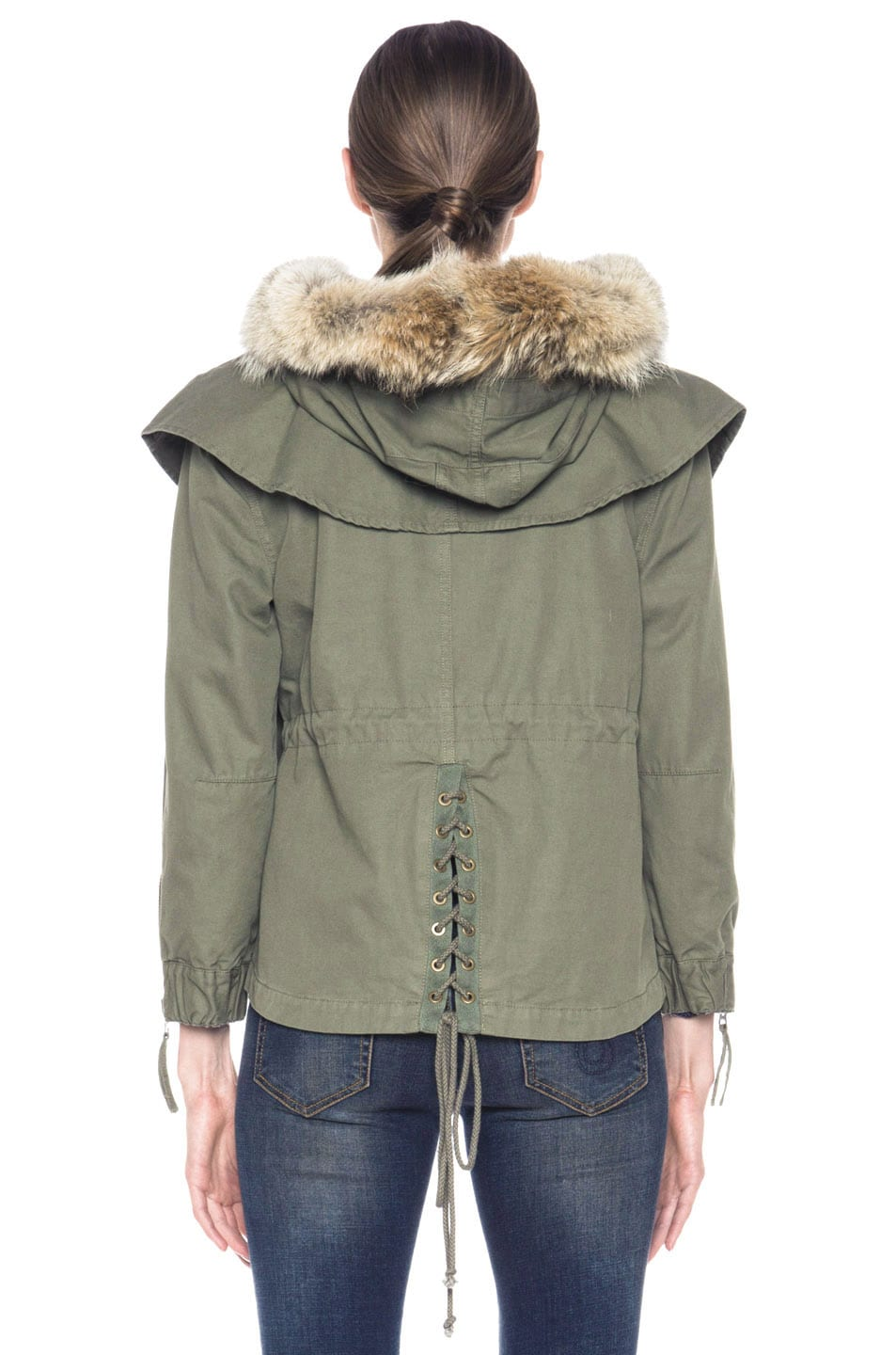 Image 5 of Skaist Taylor Cropped Cape Cotton Jacket with Fur in Army Green