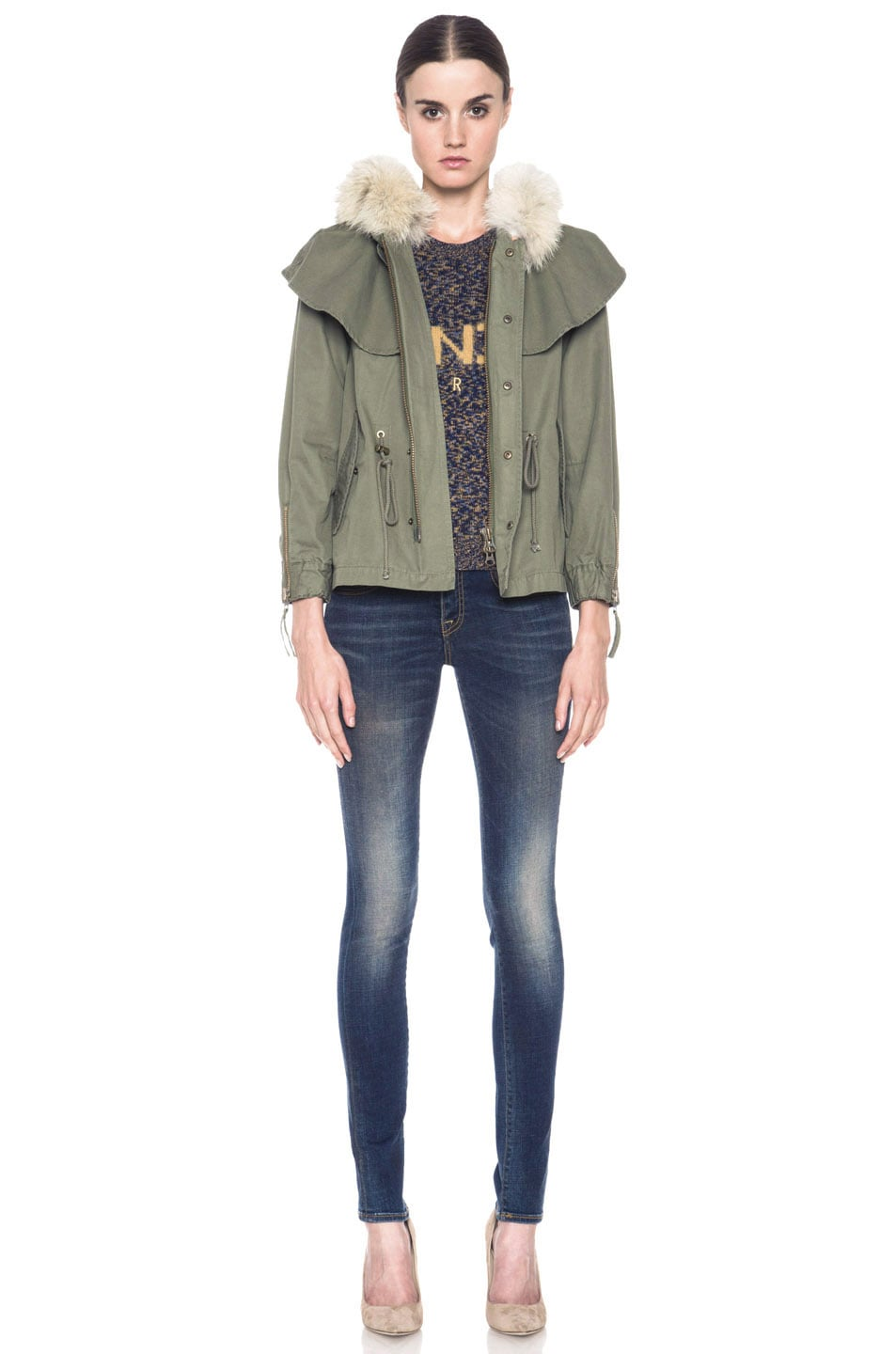Image 6 of Skaist Taylor Cropped Cape Cotton Jacket with Fur in Army Green