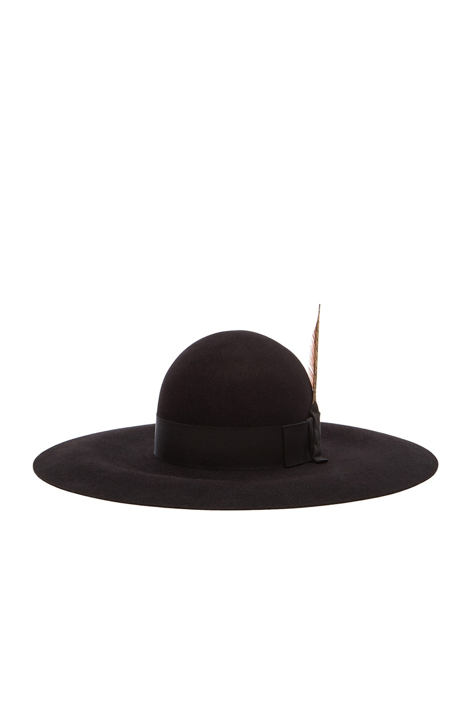 Image 2 of Saint Laurent Felt Hat with Feather in Black