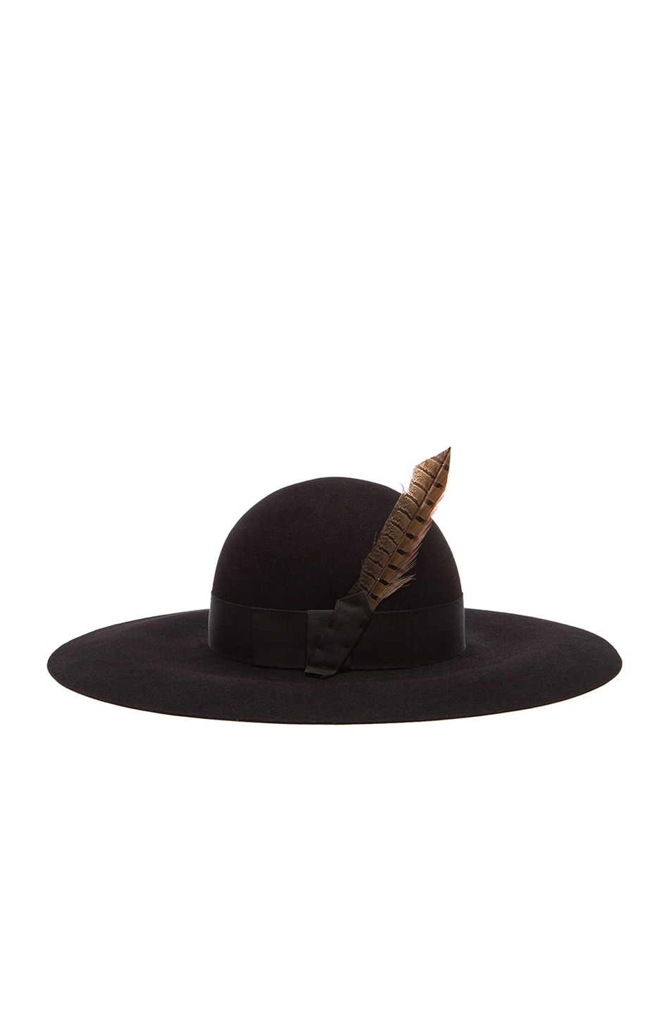 Image 3 of Saint Laurent Felt Hat with Feather in Black