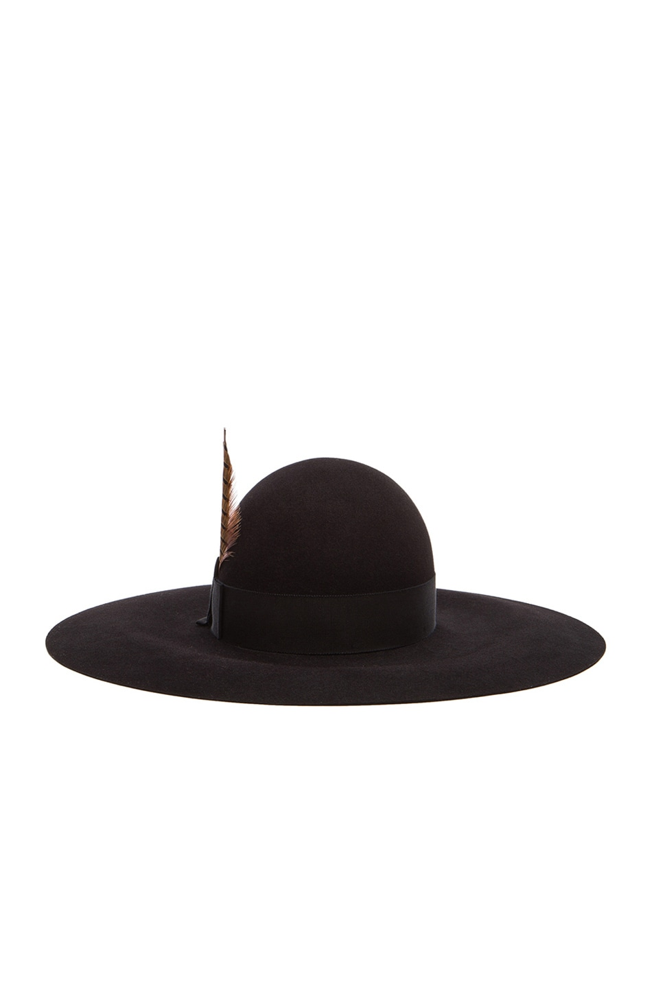 Image 4 of Saint Laurent Felt Hat with Feather in Black