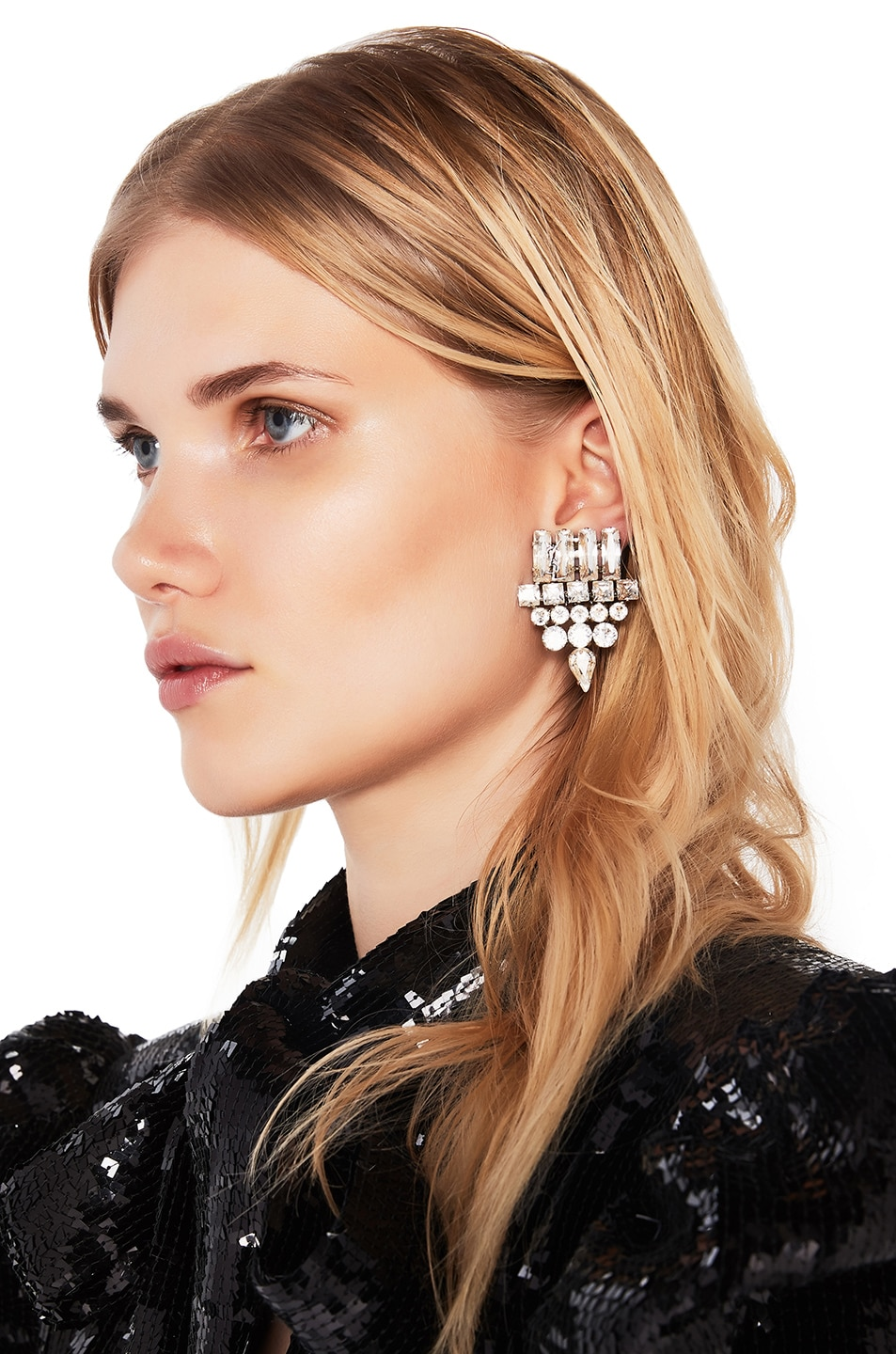 Image 1 of Saint Laurent Small Drop Earrings in Crystal & Palladium