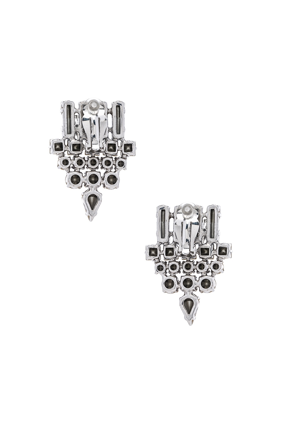 Image 3 of Saint Laurent Small Drop Earrings in Crystal & Palladium