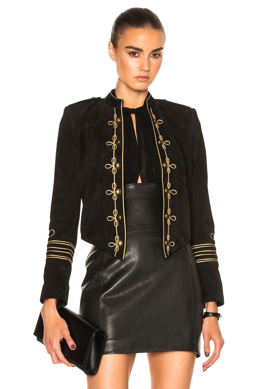 Image 1 of Saint Laurent Suede Officer Jacket in Black Gold