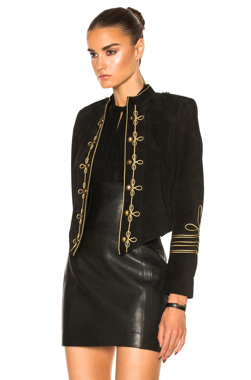 Image 2 of Saint Laurent Suede Officer Jacket in Black Gold