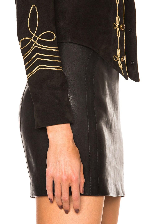 Image 6 of Saint Laurent Suede Officer Jacket in Black Gold