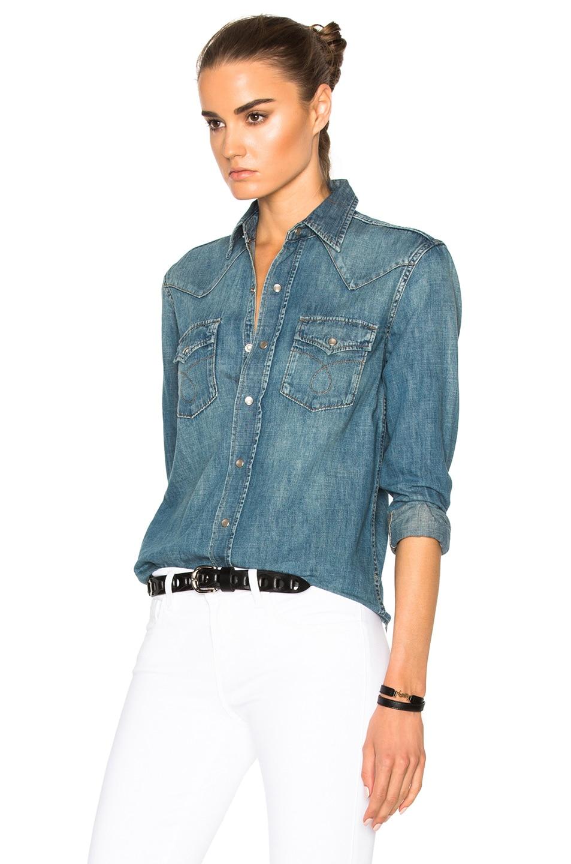 Saint laurent washed cotton denim western shirt blue for Saint laurent shirt womens
